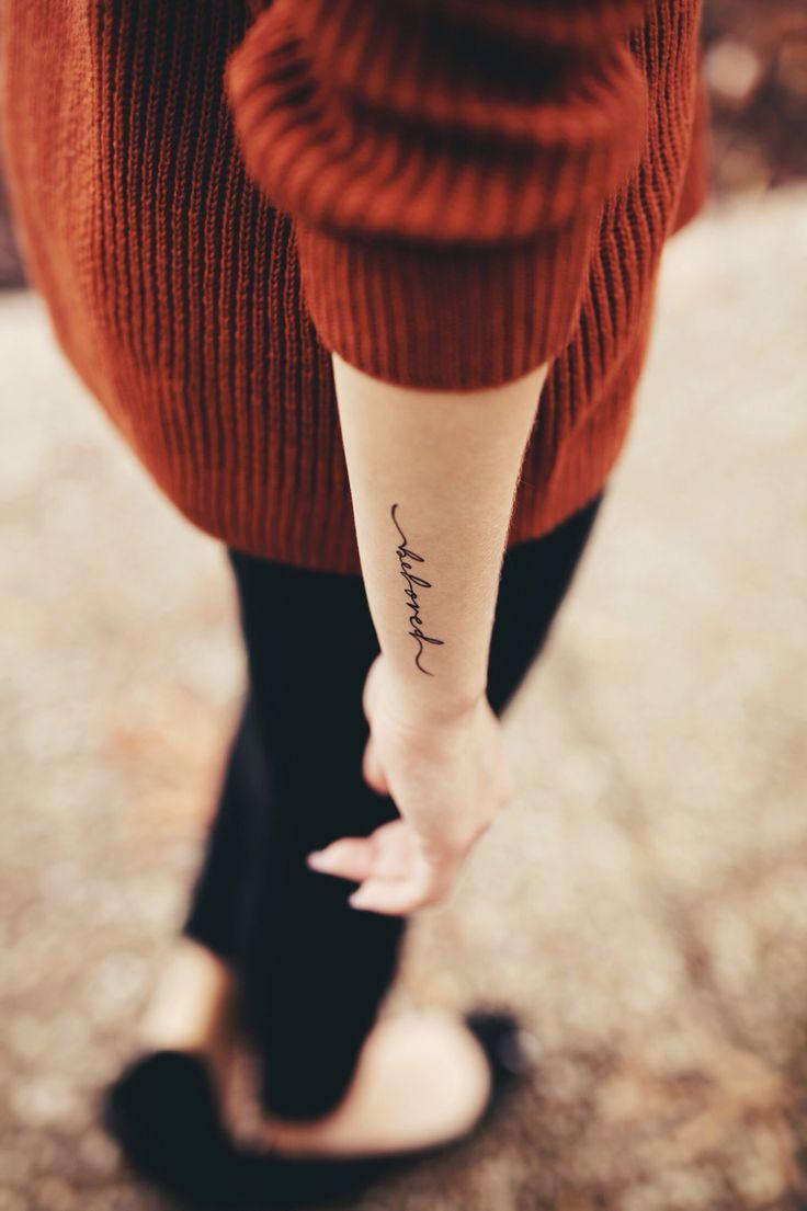 Beloved word arm tattoo www.samanthajanephoto.com #armtattoos