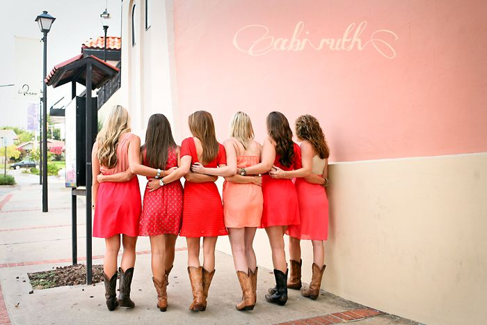 friends walking; sweet friends pictures; boots; coral / pink; group posing; photo shoot ~ just some pretty girls being best friends » Abi Ruth