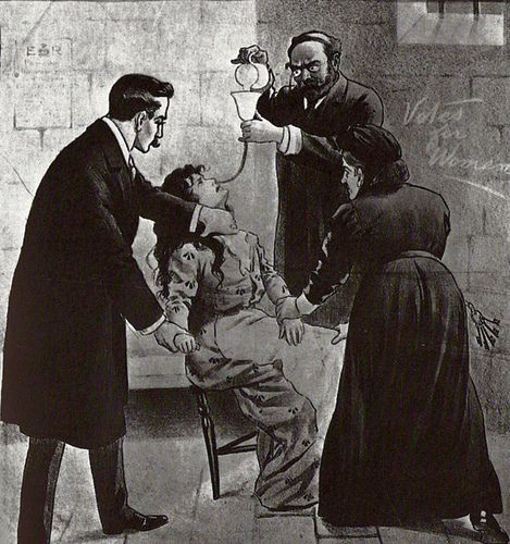 Prison governors were ordered to force feed Suffragettes but this caused a public outcry as forced feeding was traditionally used to feed lunatics as opposed to what were mostly educated women.