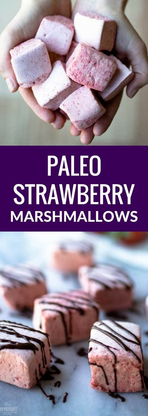 Paleo strawberry marshmallows I Paleo marshmallow recipe I strawberry marshmallows Paleo I Paleo desserts I Easy Paleo marshmallows I sugar free desserts I gluten free snack recipe I The Movement Menu II #paleodesserts #healthydesserts via @themovementmenu