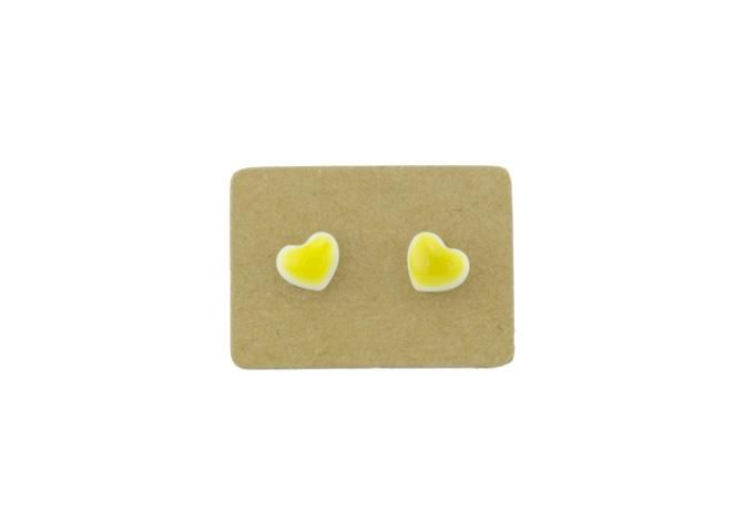 Hand-painted Small Heart Earrings (Yellow) $18 from Lululoft, Melbourne, Australia