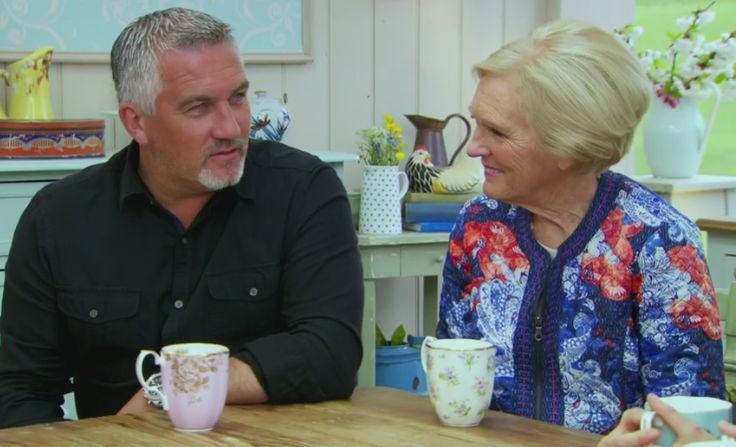 The Great British Bake Off - Paul Hollywood and Mary Berry spotted drinking from Royal Albert 100 years 1960s Golden Roses and 1920s Spring Meadow