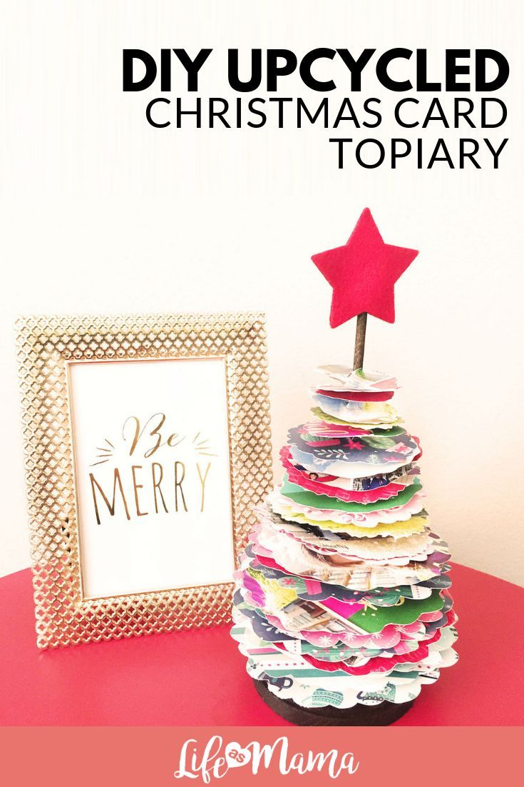 DIY Upcycled Christmas Card Topiary