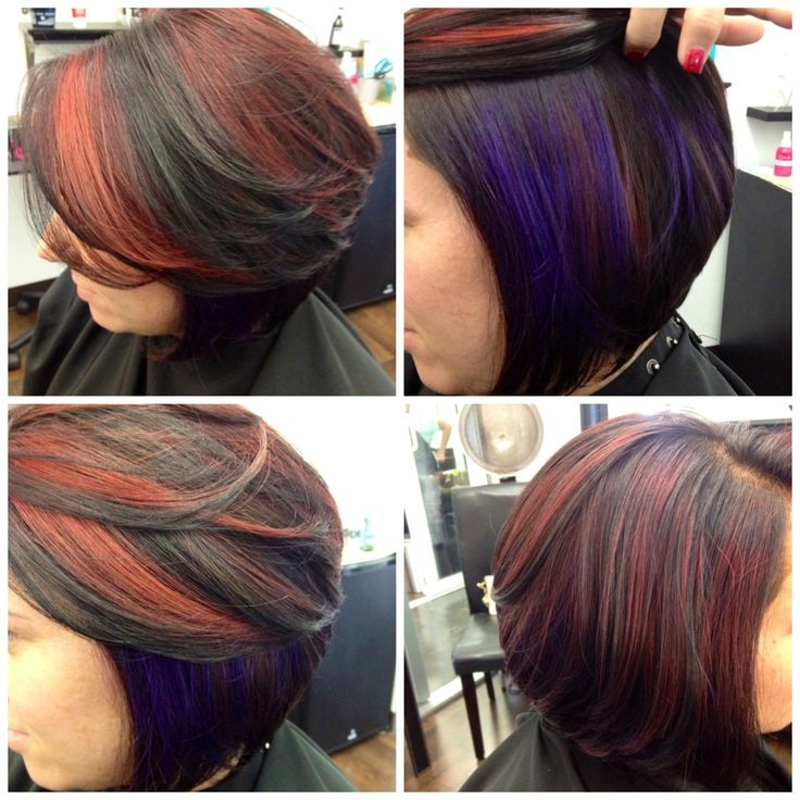 Bob Haircut With Red Highlights Hair Color Ideas And Styles For 2018