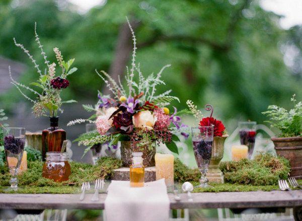 organic garden tablescape  Photography by jenfariello.com, Floral Design by patsfloraldesigns.com
