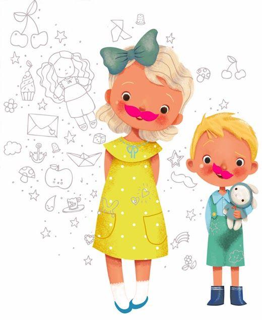 illustrati on©emmanuelle colin     Illustration réalisée pour une nouvelle marque Rose moustache , une créatrice plein de talents, des va...