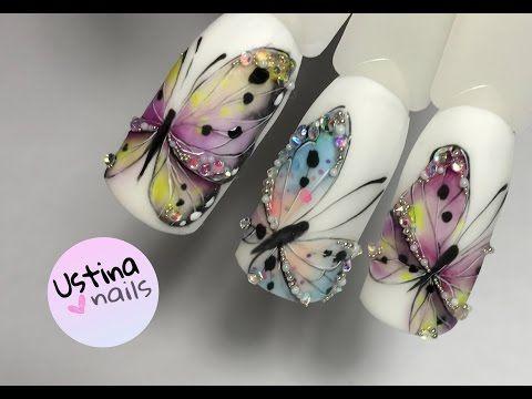 Дизайн ногтей. Бабочки. Урок 2 - YouTube