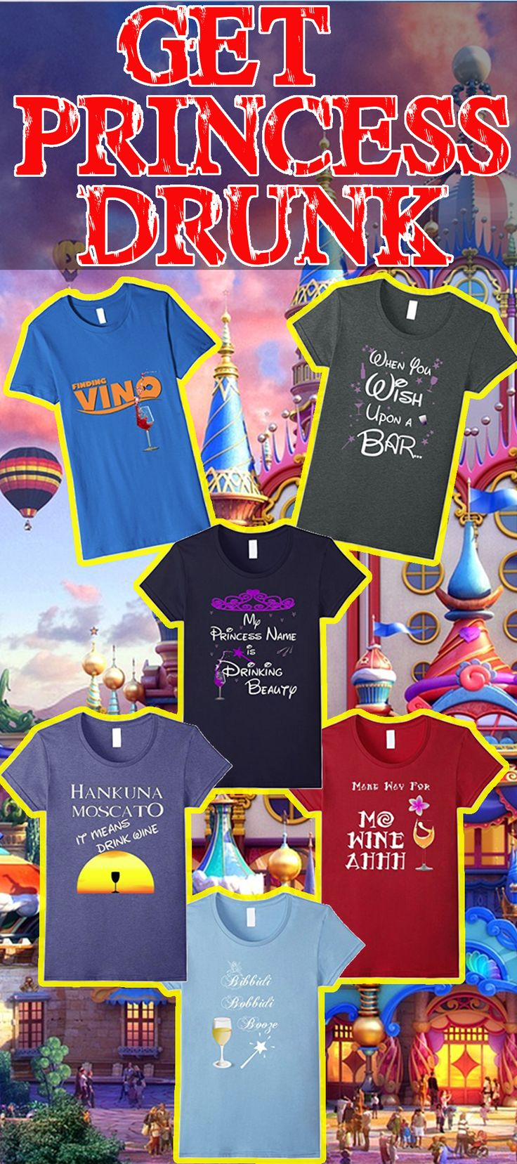 #princess #princessdrunk It's time to get princess drunk and you may as well wear the shirt while doing it! When you wish upon a bar magic happens! ALl on amazon now with free shipping for Prime members. Great fun drinking shirts for women