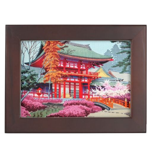 Red Temple Spring Asano Takeji japanese scenery Memory Boxes