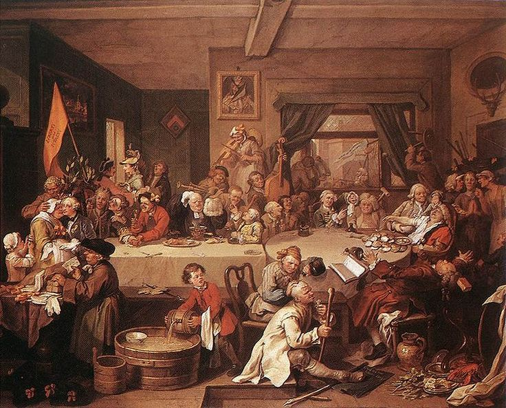 """Painting by William Hogarth,ca.1755;original title: """"An Election Entertainment"""",  from the series known as""""The Humours of an Election"""" or (when engraved) """"Four Prints of an Election"""".Includes famous """"Give us our Eleven days"""" protest slogan against Gregorian calendar at lower right (on black sheet on floor).According to Hogarth: A Life and a World by Jenny Uglow, this was loosely based on the 1754 Oxfordshire elections, in which the 1752 calendar change was one of a number of issues brought…"""