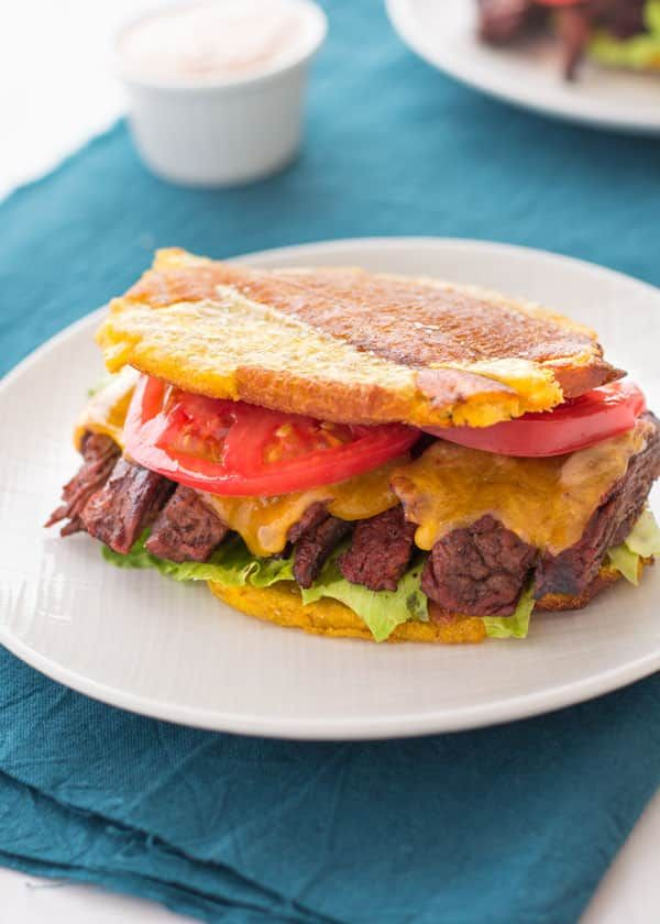Try this insanely delicious jibarito recipe which is a Puerto Rican style sandwich using fried plantains instead of bread.