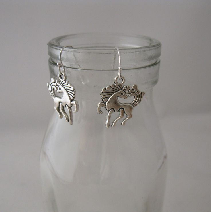 Silver Horse Earrings. Whimsical Silver Horses. Unicorn Earrings by BunnaAndDooDesigns on Etsy