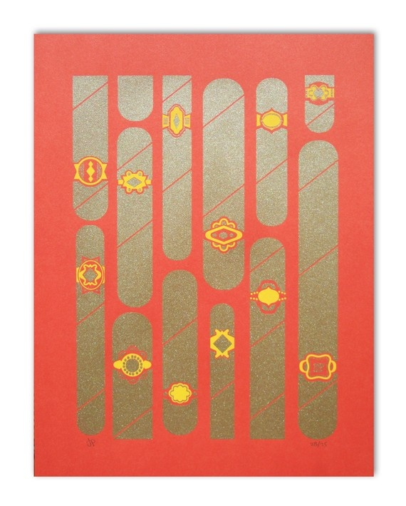 Cigars Print Set of 2 on red by lfdept on Etsy