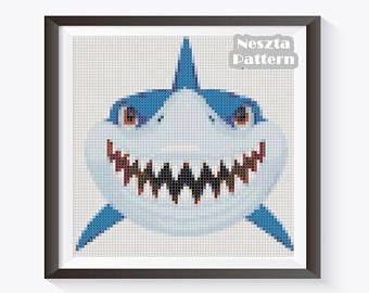 Shark Cross Stitch Pattern, Shark x stitch pattern, colorfull Cross stitch Embroidery, Embroidery pattern