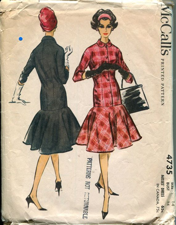 Vintage 50s Misses Dress Sewing Pattern tulip skirt bell shape mermaid dress red pink plaid black day cocktail late era