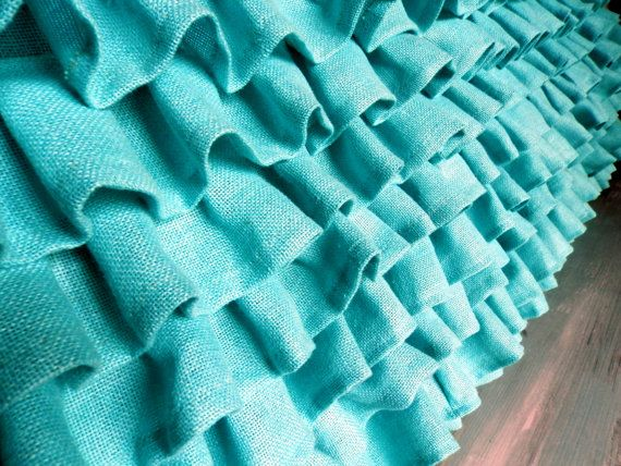 Turquoise Ruffled Burlap bed skirt King size 76 x by MadeInBurlap