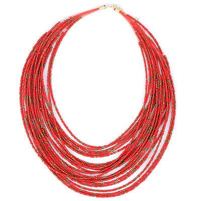 Beaded Red Multilayer Design Necklace #dress #evening #every-day #fashion #red
