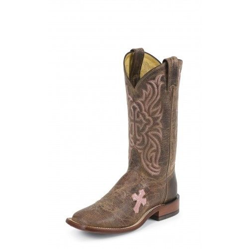 Women's Tony Lama TC1005L Tan & Pink Cross Inlay Square Toe Cowgirl Boots
