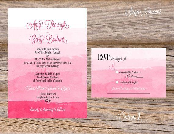 Ombre Wedding Invitation: Watercolor Ombre Wedding Invitation Suite DIY Printable