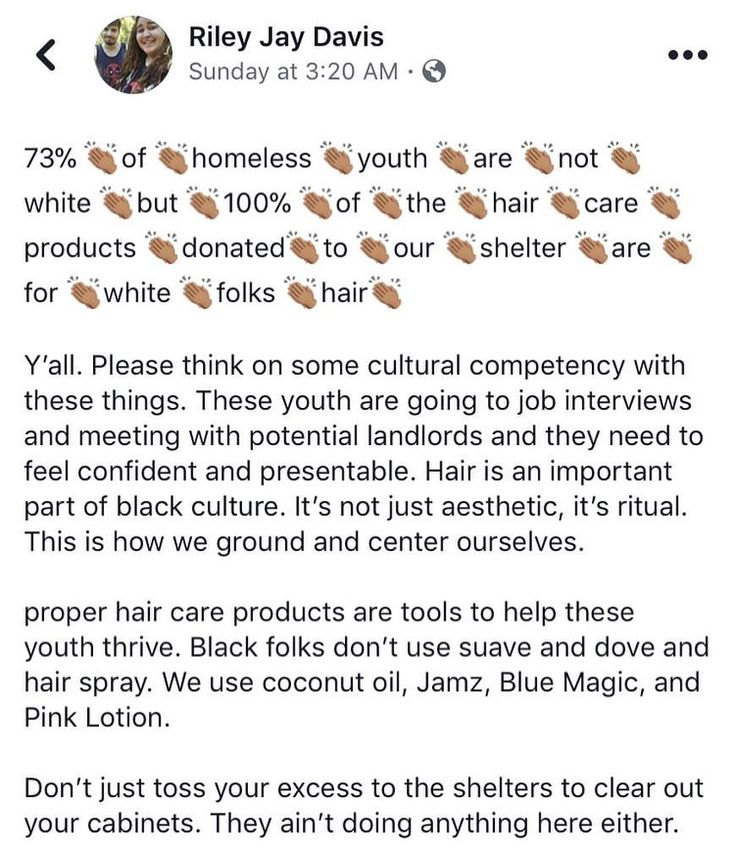 Seriously, those products will do NOTHING to their hair please donate something for ethnic hair