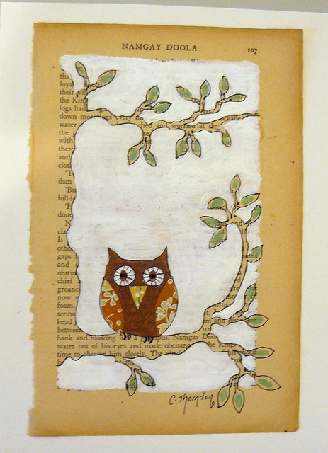 owl book page art would do this with printed paper - Book Pages Art
