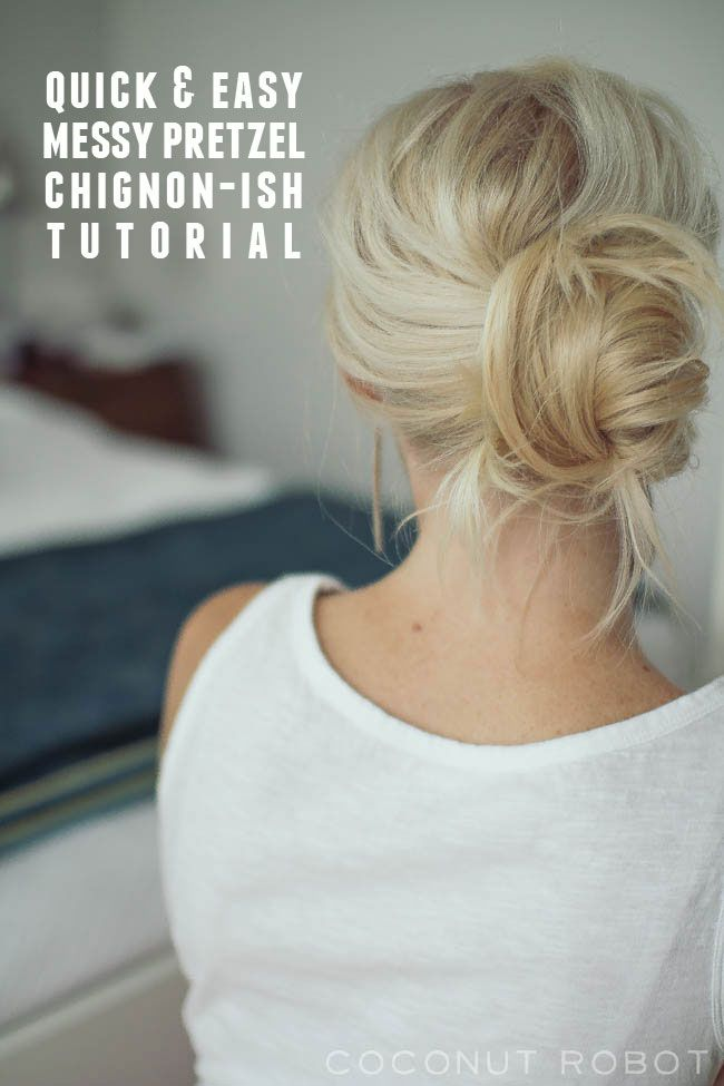 messy pretzel chignon-ish hair tutorial