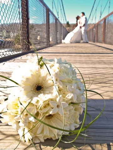 Maine Wedding Photography, unique creative modern romantic, LAD Photography, bride and groom on walking bridge with bouquet, Brunswick, Maine