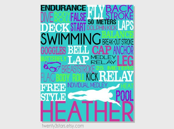 Swimming Typography Art Print Perfect for Girl or Boy by twenty3stars, $10.00