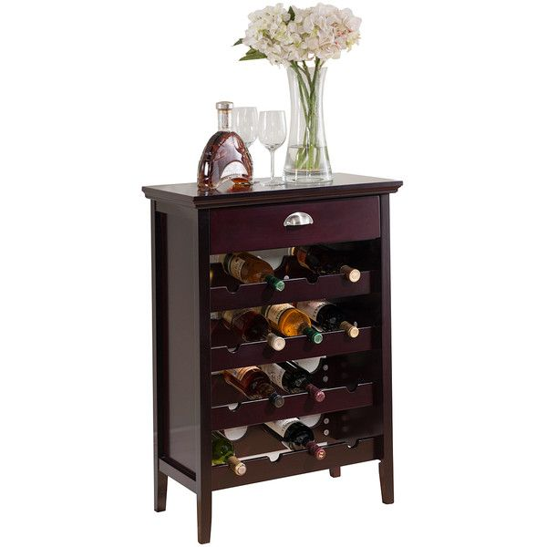 Trend Pilaster Designs Dark Cherry One Drawer Wine Cabinet liked on Polyvore