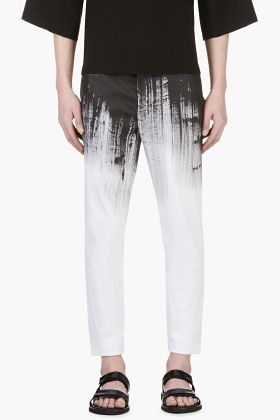 Denis Gagnon Black & White Hand Painted Trousers for men   SSENSE