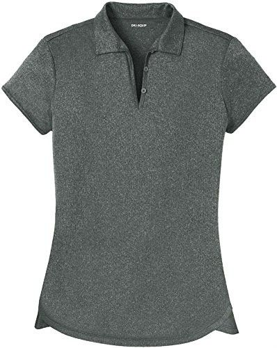 DRI-EQUIP(tm) Ladies Heathered Moisture Wicking Golf Polo-Charcoal-XS