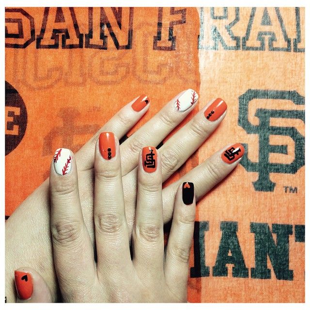 Check out our SF Sales Manager @getwiththejogram's nails for today's @sfgiants vs. @mets game! ⚾️ She's hoping to witness another no-hitter! #sfgiants #mets #nailart #nohitter #gamerchick #baseball #wearegiant #HestoNoNo #citifield #GetManicubed