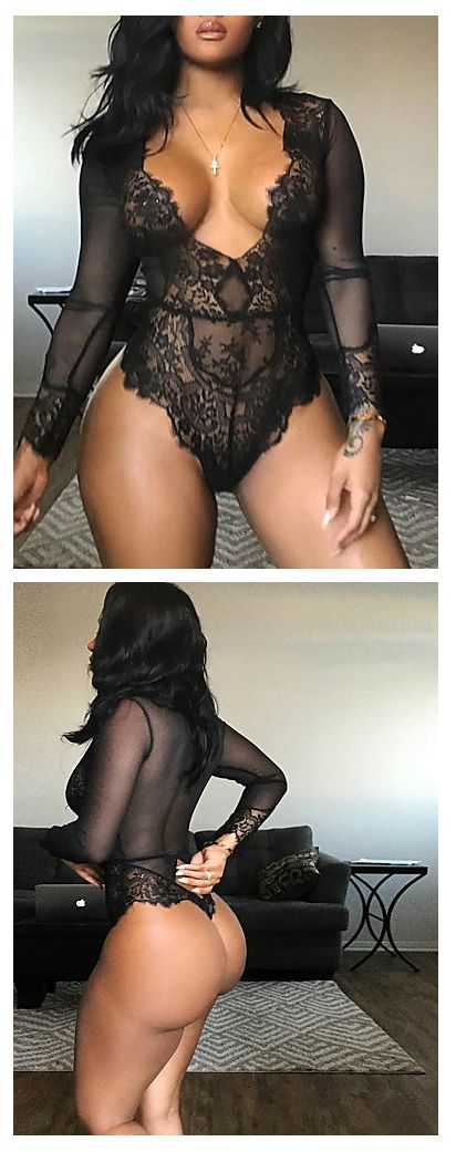 Sexy stunning black lace see through long sleeve body lingerie! Get it for any occasion! Find it at just $13.99