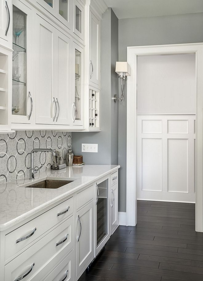 White And Grey Butler S Pantry White And Grey Butler S Pantry White And Grey Butler S Pantry White An Grey Wall Color Gray Painted Walls Luxury Interior Design