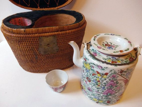 Antique Chinese Tea Set In Tea Warmer Basket Hand Painted