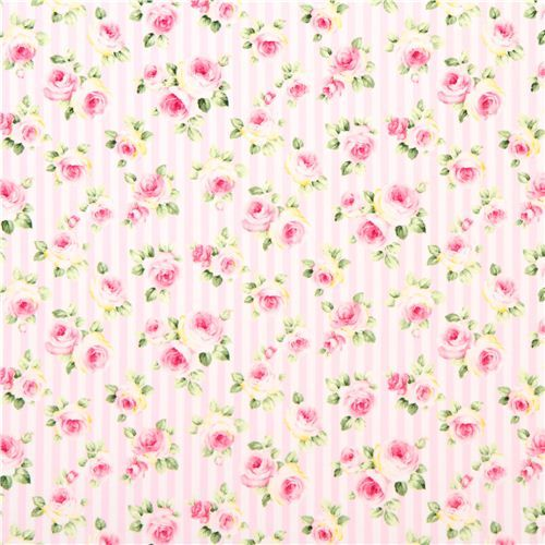 pale pink and white striped flower rose fabric by Cosmo: