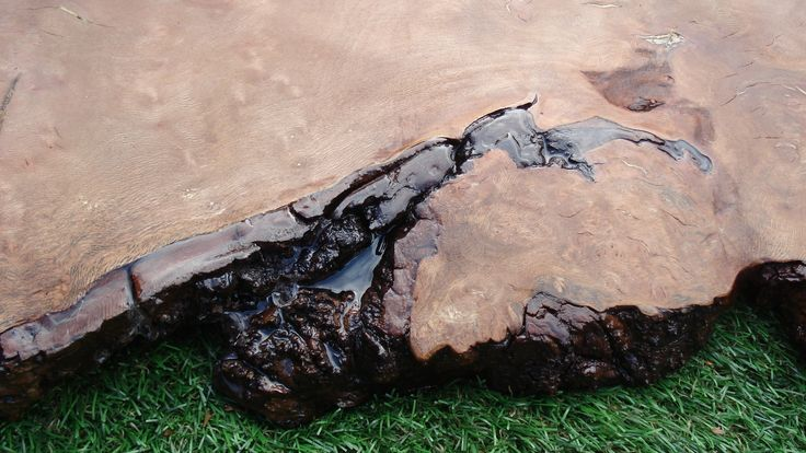 As the knuckle joint was quite weak and with very loose bark, clear epoxy resin strengthened it for the cats to jump on