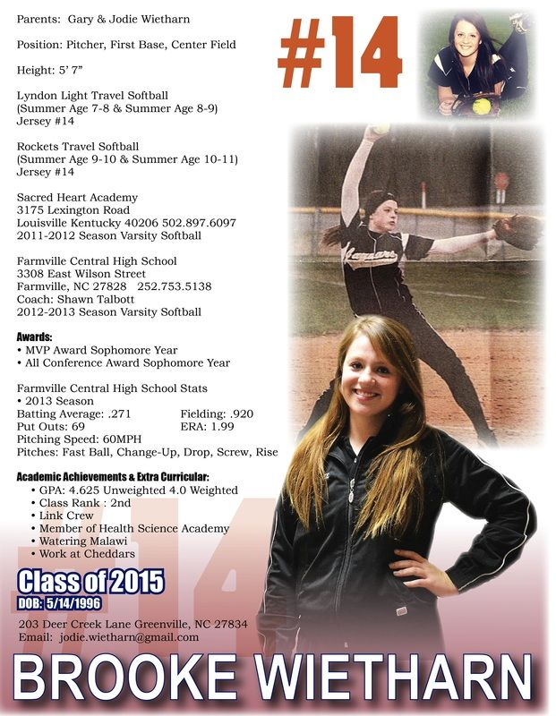 Softball Resume  Sports ResumesRecruiting Flyers