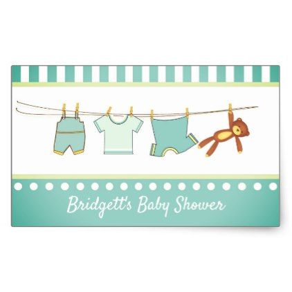 Aqua Baby Boy Clothesline Baby Shower Stickers - craft supplies diy custom design supply special