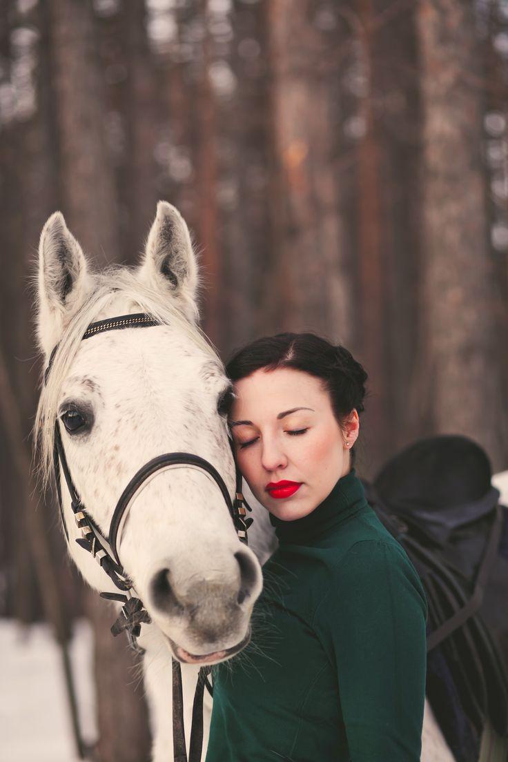 girl, portrait, horse, winter