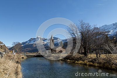 Wonderful landscape with church and mountains