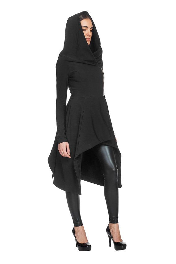 L4111/ Black techno-jersey hooded blazer/ Black peplum coat /Neoprene like jacket /Techno fleece top / cardigan / jamper / maxi sweater