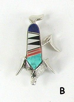 Authentic Native American Navajo Corn pin of sterling silver and stone inlay