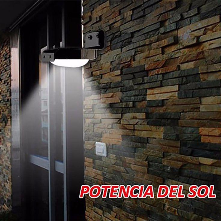 Luminaria de pared Lampara solar de 16 LED con senor de luz para valla en el jardin y patio  exterior con bateria recargable