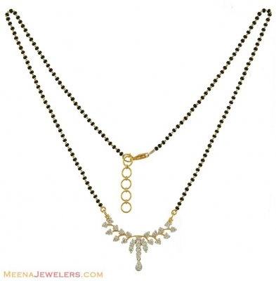 18K Diamonds Mangalsutra - DiMa11128 - US$ 3,625 - 18k yellow gold diamond mangalsutra, designed beautifully with small drop hanging ,studded with geni