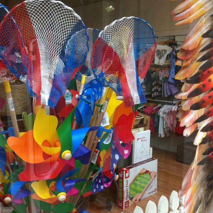 Bambalotta window display @ Barwon Heads store.......#whirly #windmills #rainbow #colour