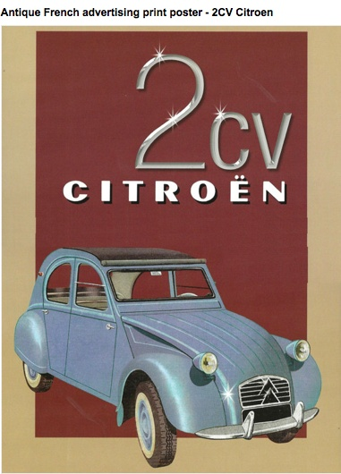 Antique French advertising poster for the 2CV Citroën