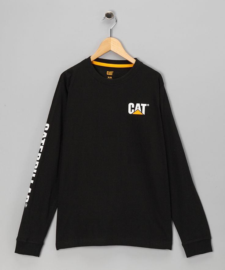 Black 'Caterpillar' Banner-Sleeve Tee - Boys