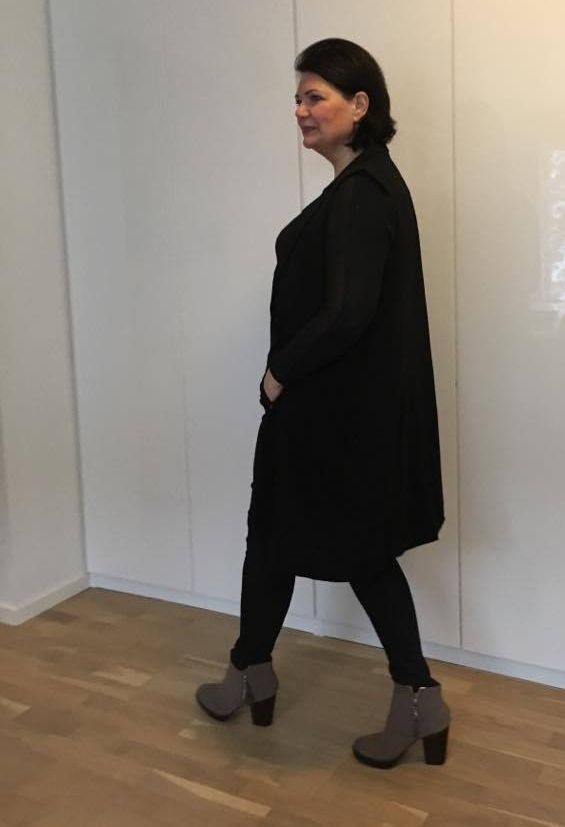 Wear your skinnies with high heels - they are elongating and slimming