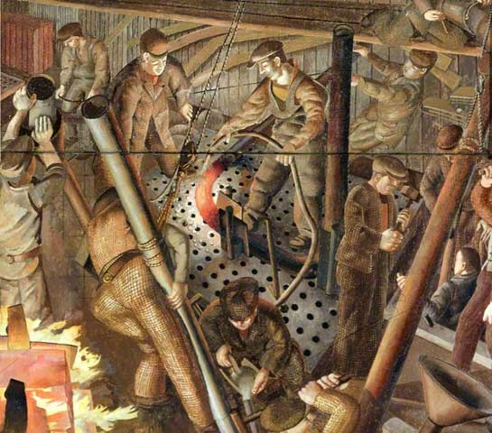 Stanley Spencer - Shipbuilding on the Clyde: Plumbers